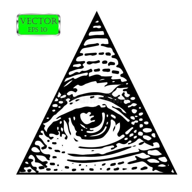 Tutto l'occhio vedente del nuovo ordine mondiale Illustrazione di vettore illustrazione di stock