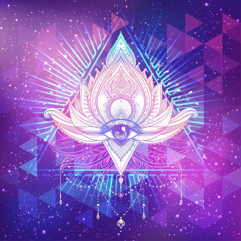 Tutto l'occhio vedente in fiore di Lotus ornamentale di vettore del loto, a etnica royalty illustrazione gratis