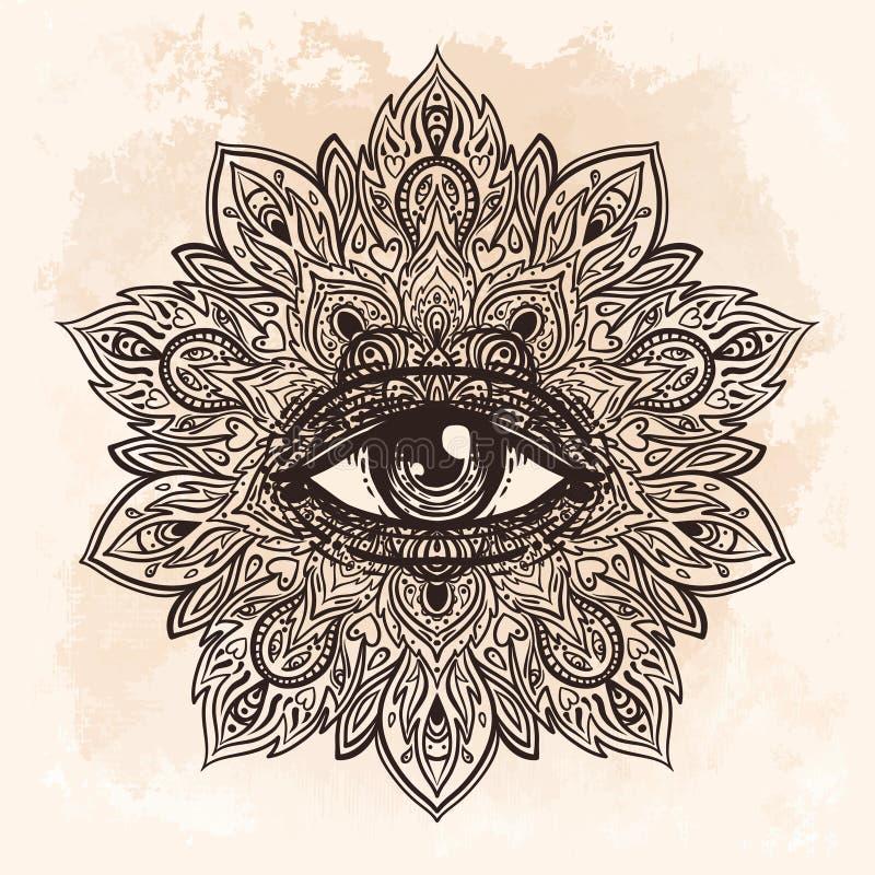 Tutto l'occhio vedente nel modello rotondo decorato della mandala Mistico, alchemia, royalty illustrazione gratis