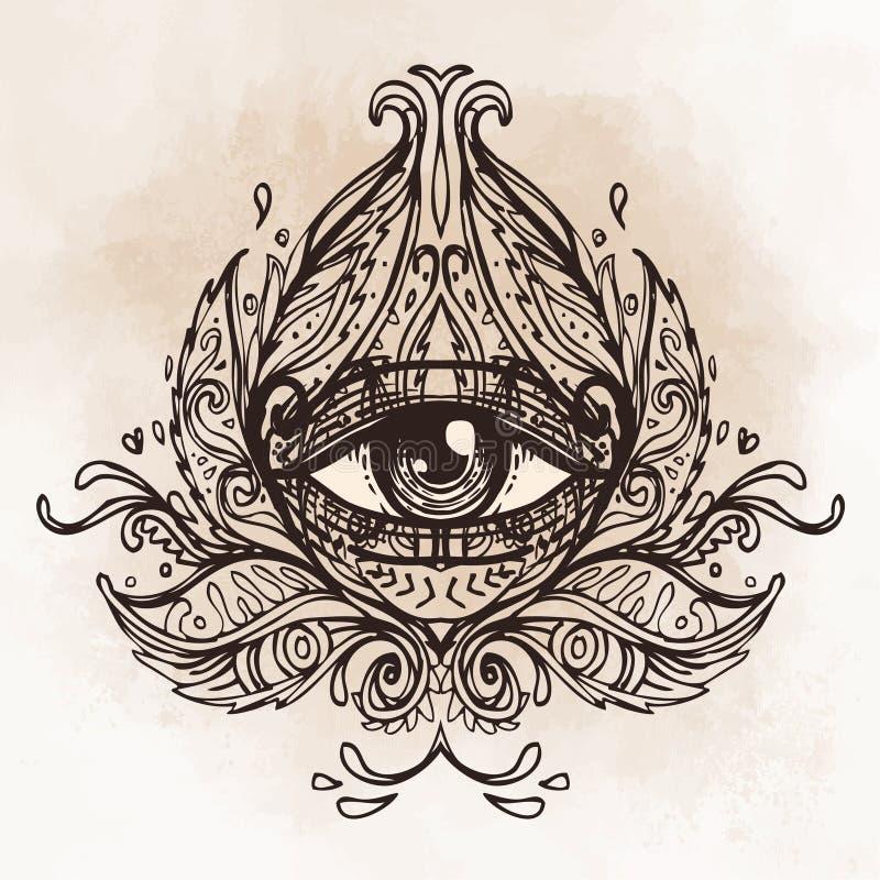 Tutto l'occhio vedente nel modello rotondo decorato della mandala Mistico, alchemia, illustrazione vettoriale