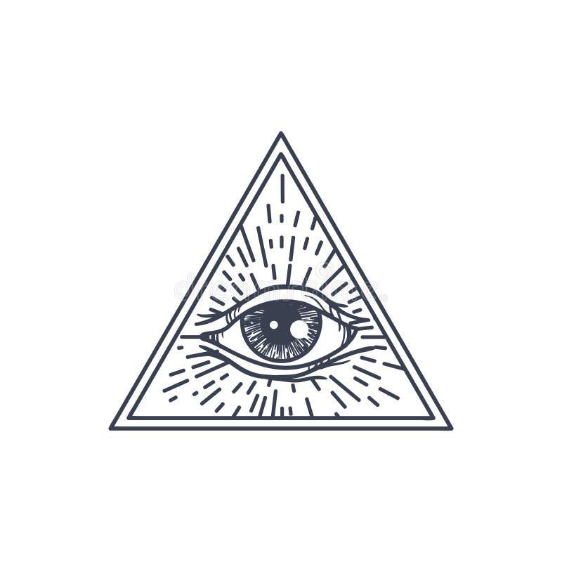 Tutto l'occhio vedente nel triangolo royalty illustrazione gratis