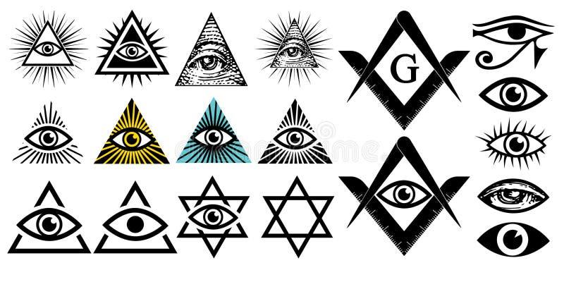 Tutto l'occhio vedente Simboli di Illuminati, segno massonico Cospirazione delle elite illustrazione di stock