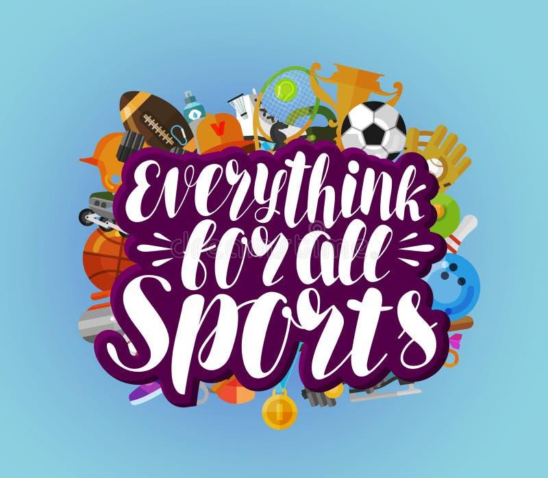 Tutto per tutti gli sport, insegna Forma fisica, sport, concetto della palestra Illustrazione di vettore dell'iscrizione royalty illustrazione gratis
