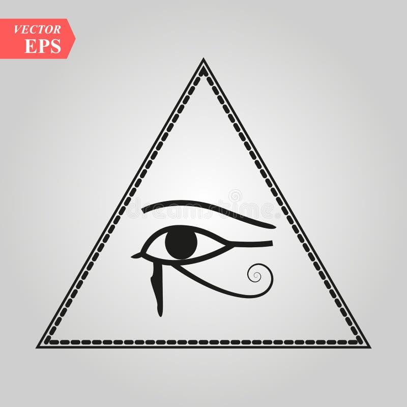 Tutto vedendo occhio di Dio l'occhio dell'occhio di provvidenza dell'occhio luminoso Dei di delta di onniscienza Simbolo sacrale  illustrazione vettoriale