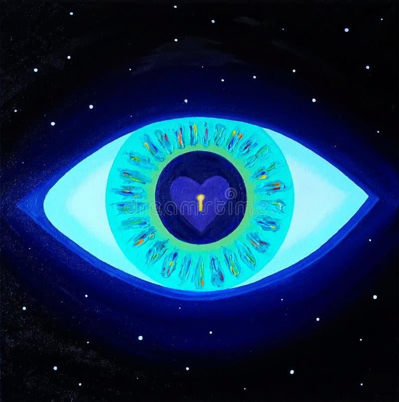 Tutto vedere occhio, amore, chiarimento, chiave al cuore, universo, universo, stelle, dio, medetation, immagine, olio della tela royalty illustrazione gratis