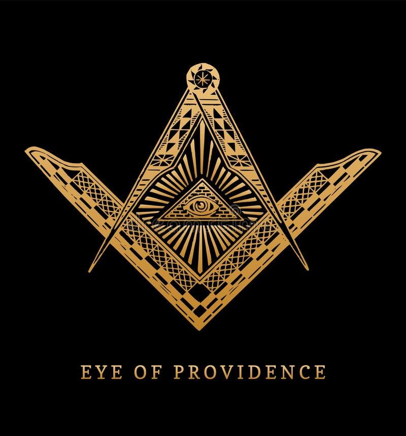 Tutto vedere occhio di provvidenza Simboli massonici della bussola e del quadrato Logo dell'incisione della piramide di massoneri illustrazione vettoriale