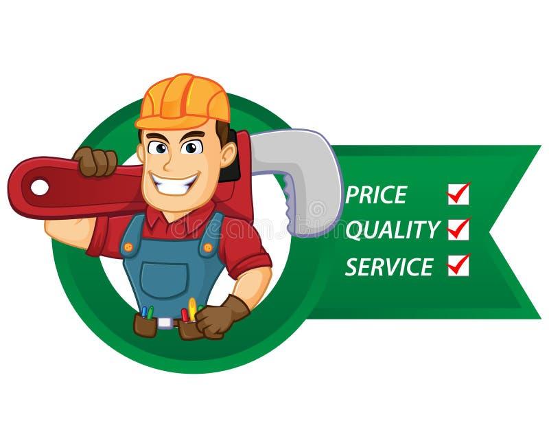 Tuttofare con le liste di servizio tenere chiave stringitubo illustrazione di stock