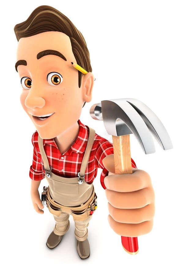 tuttofare 3d che tiene un martello da carpentiere illustrazione di stock