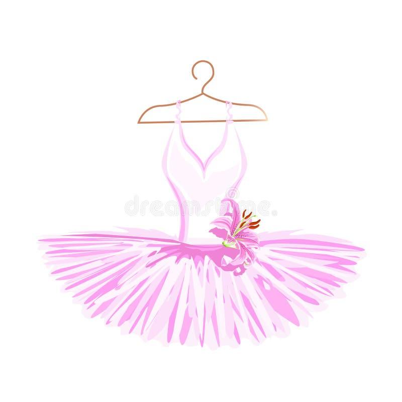 Tutu de ballet d'aquarelle sur un cintre illustration libre de droits