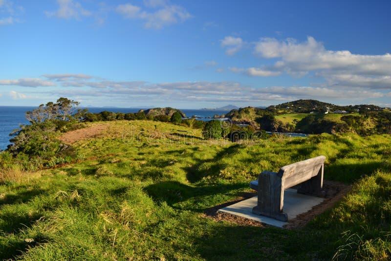 Tutukaka-Landschaftsansicht über Küste, Northland lizenzfreies stockfoto