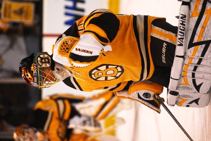 Tuukka Rask Bruins goaltender. Tuukka Rask Boston Bruins goalie in Winter Classic sweater stock photo