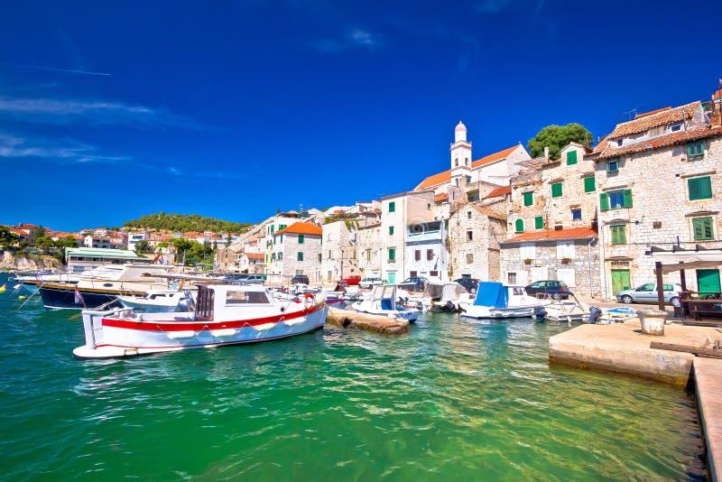 Tuurquoise waterfront of historic town of Sibenik. Dalmatia region of Croatia royalty free stock images