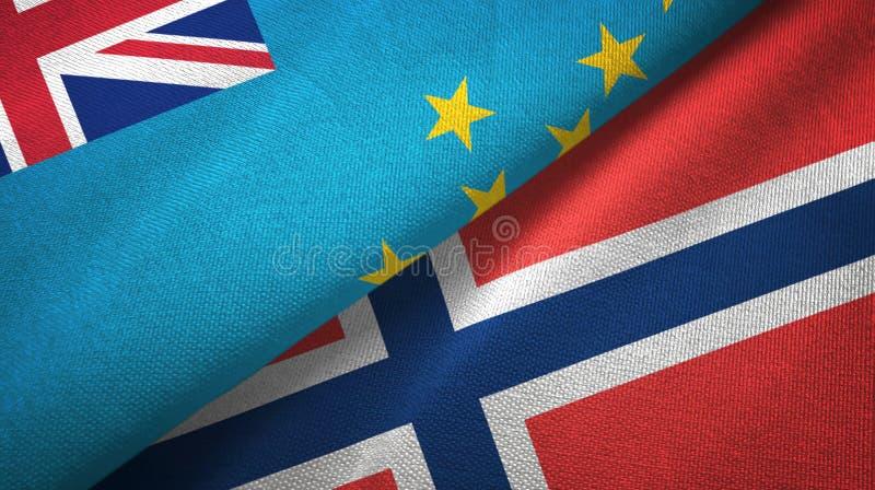 Tuvalu en Noorwegen twee vlaggen textieldoek, stoffentextuur vector illustratie