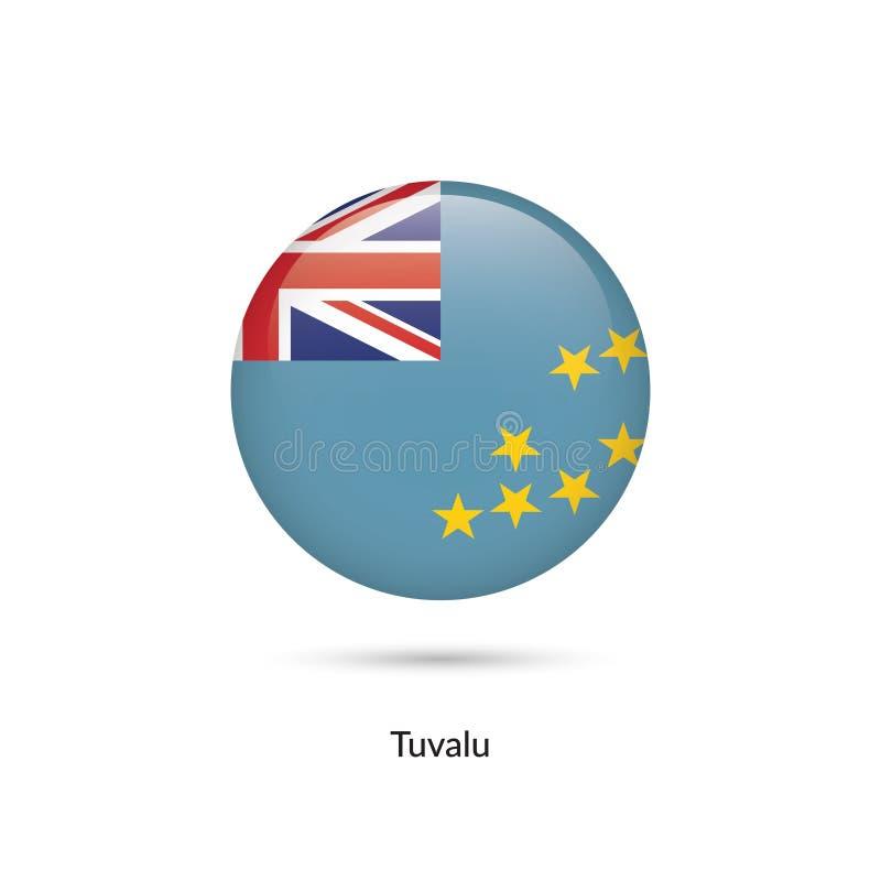 Tuvalu flagga - rund glansig knapp stock illustrationer