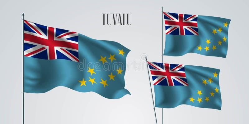 Tuvalu het golven vlagreeks van vectorillustratie royalty-vrije illustratie