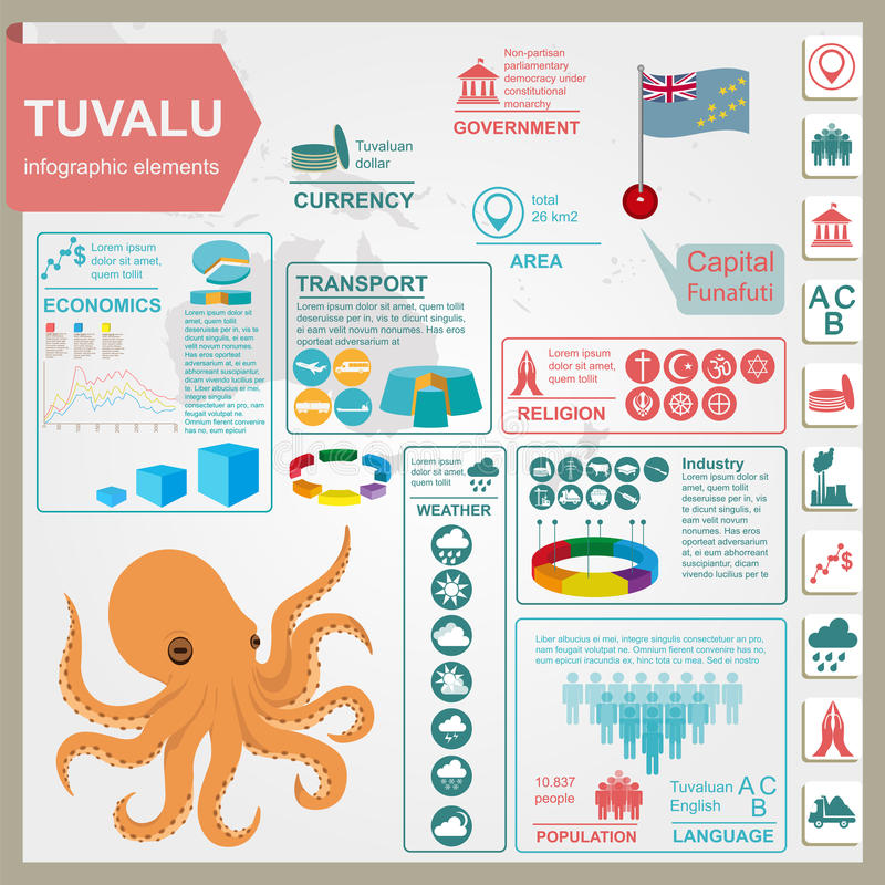 Free Tuvalu Infographics, Statistical Data, Sights. Octopus. Royalty Free Stock Photos - 66191768