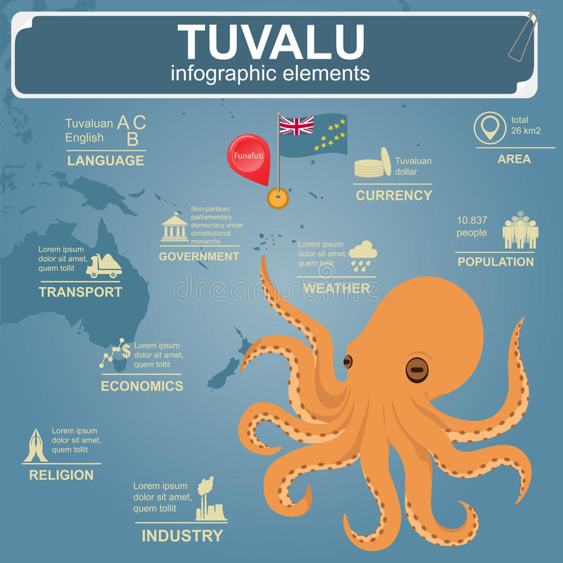 Free Tuvalu Infographics, Statistical Data, Sights. Octopus. Royalty Free Stock Photography - 66191787