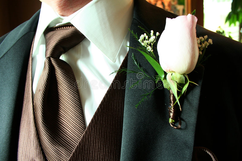 Tuxedo. This is a close-up of a groom's classic tuxedo and boutonniere royalty free stock photo
