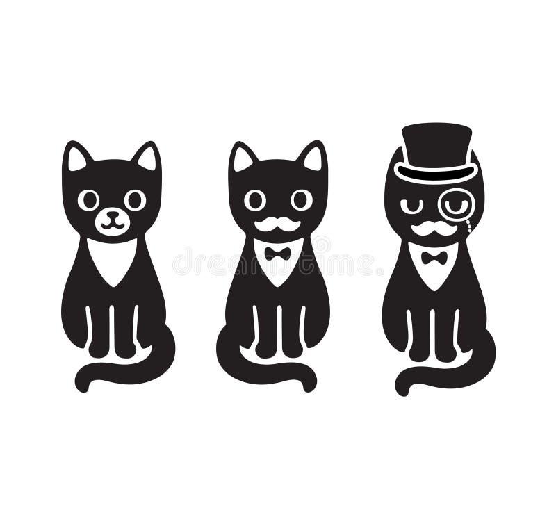 Tuxedo cats set stock illustration