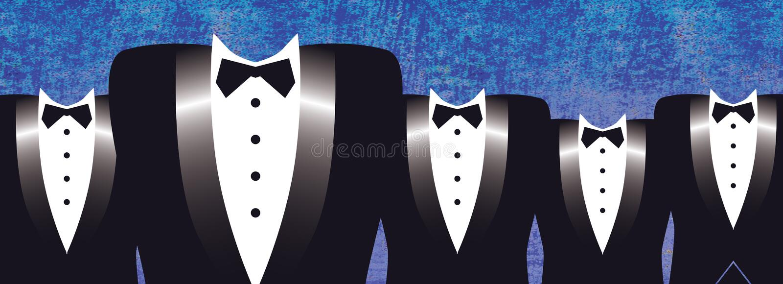 Tuxedo Formal. It's a night on the town with these five tuxedo wearing men, in formal black. From wedding to prom to an evening out, this is a perfect page for vector illustration