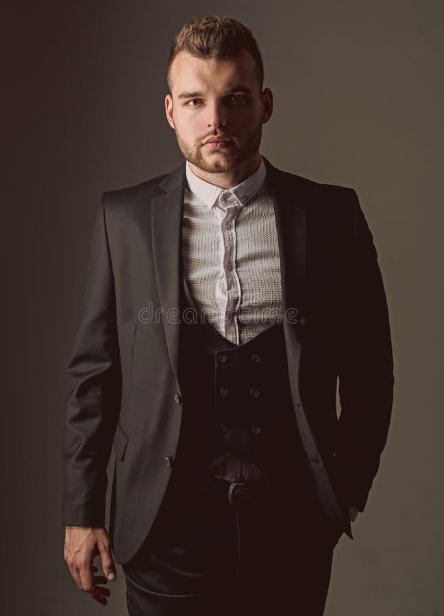 Tuxedo man. Modern man suit fashion. Man in classic suit shirt. Business confident. Portrait of handsome serious male stock photos