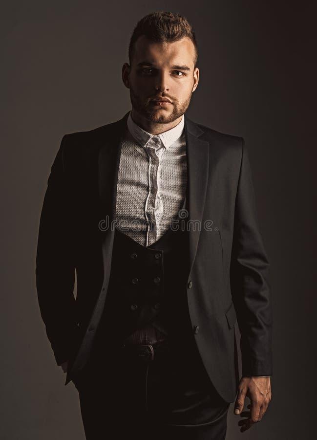 Tuxedo man. Modern man suit fashion. Man in classic suit shirt. Business confident. Portrait of handsome serious male stock images