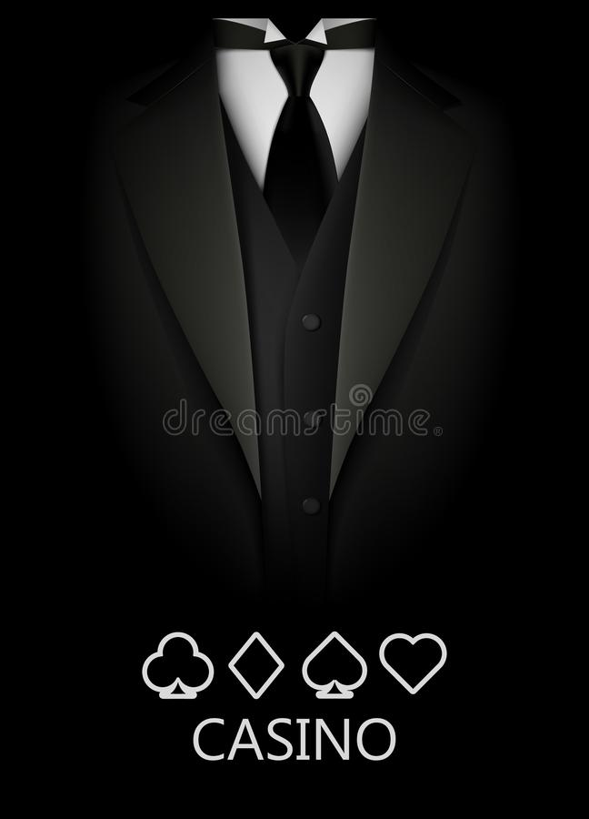 Tuxedo with suit of cards background. Casino concept. Elite poker club. Clean vector illustration vector illustration