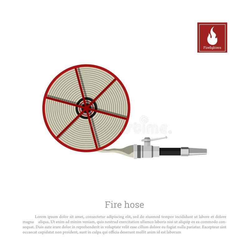 Tuyau d'incendie sur un fond blanc Équipement de sapeur-pompier dans le style réaliste illustration de vecteur