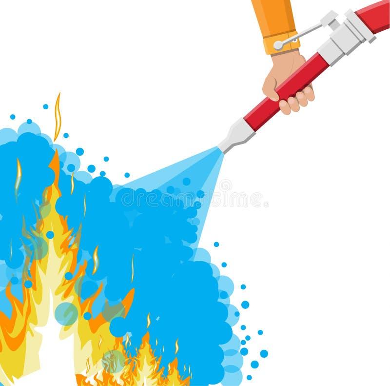 Tuyau de l'eau à disposition pour s'éteindre le feu illustration libre de droits