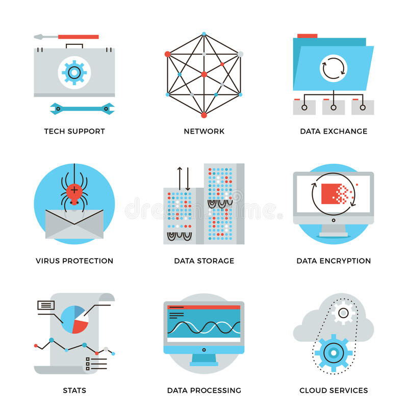 Tuyau de service global de technologie de données icônes réglées illustration stock