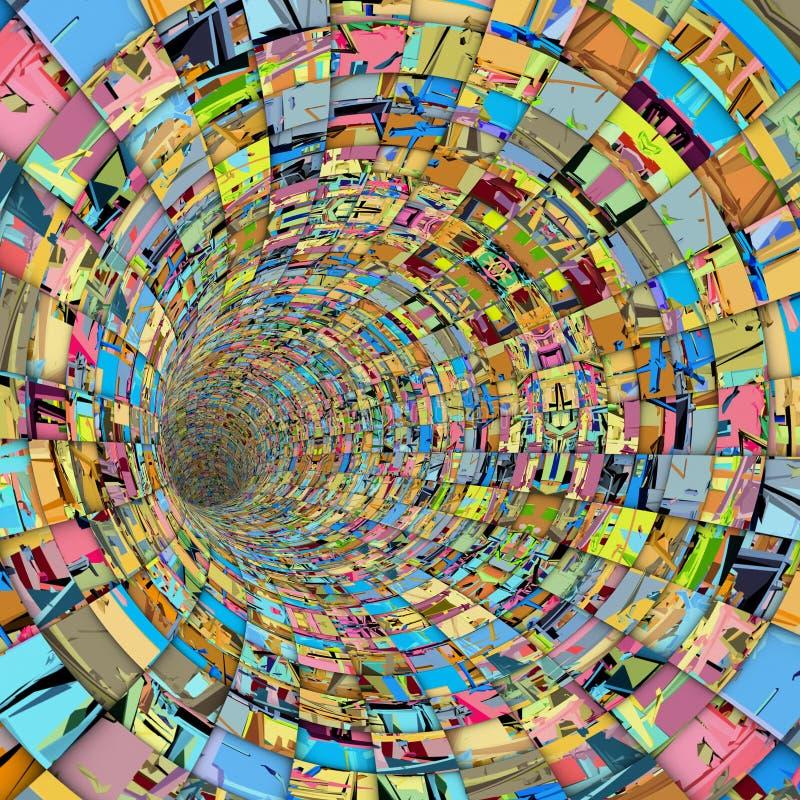 tuyau de tunnel de tuile de techno du fragment 3d dans la couleur multiple illustration de vecteur