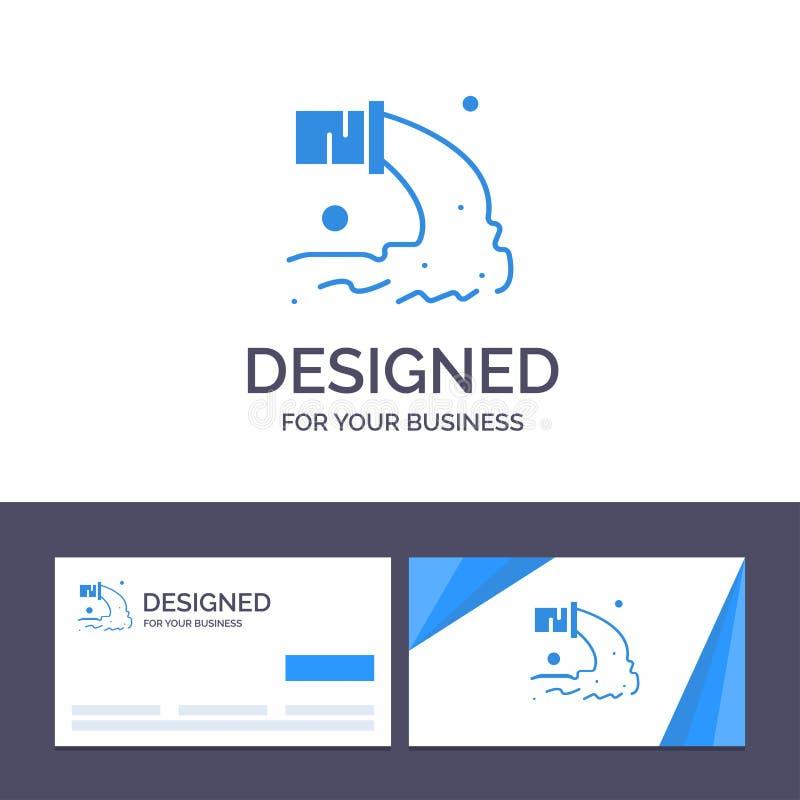 Tuyau de visite de calibre créatif de carte de visite professionnelle et de logo, pollution, radioactive, eaux d'égout, illustrat illustration stock