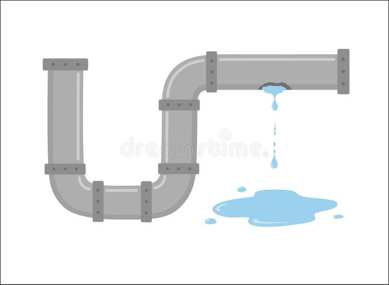 Tuyau disjoint avec l'illustration de vecteur d'écoulement de l'eau illustration stock