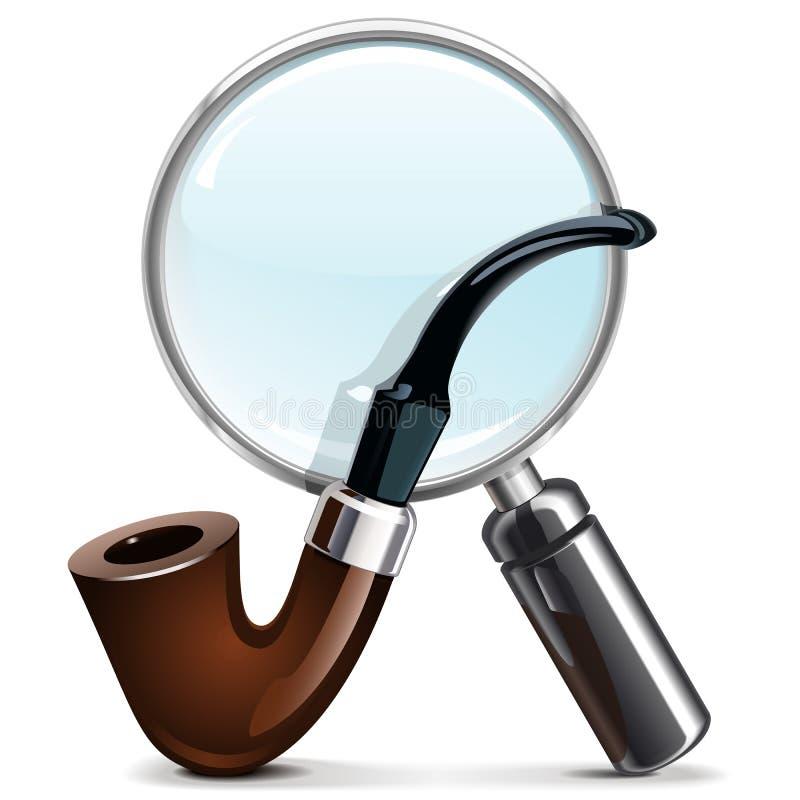 Tuyau et loupe de tabac de vecteur illustration stock