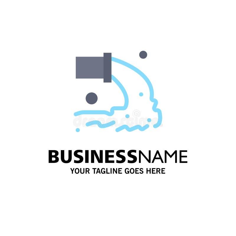 Tuyau, pollution, radioactive, eaux d'égout, affaires Logo Template de déchets couleur plate illustration libre de droits