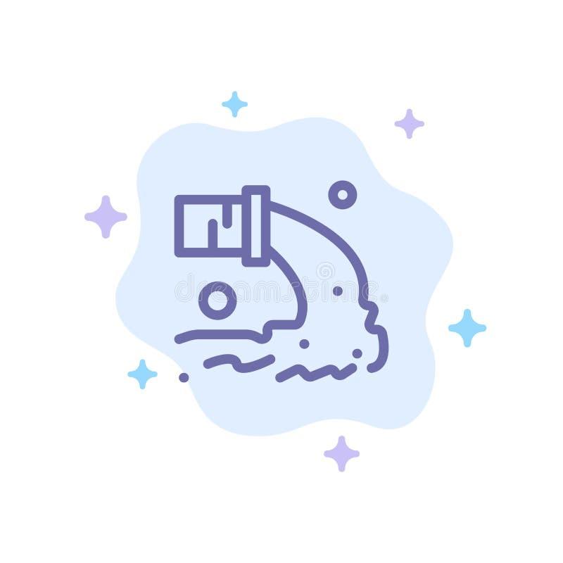 Tuyau, pollution, radioactive, eaux d'égout, icône bleue de rebut sur le fond abstrait de nuage illustration de vecteur