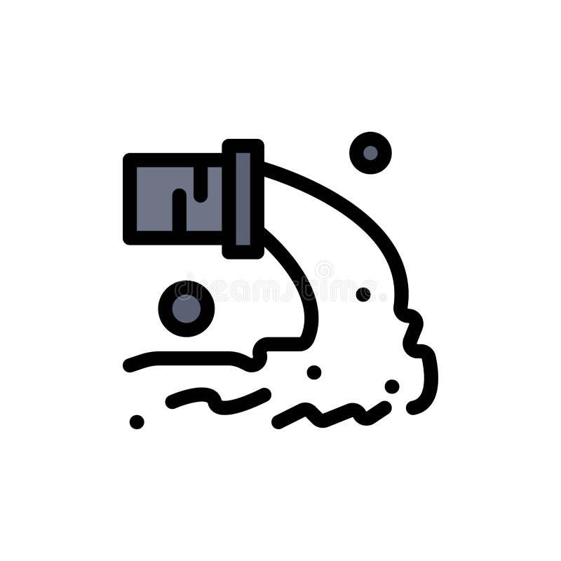 Tuyau, pollution, radioactive, eaux d'égout, icône plate de rebut de couleur Calibre de bannière d'icône de vecteur illustration stock