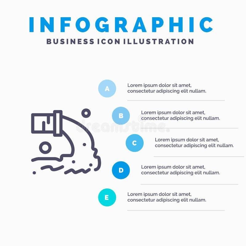 Tuyau, pollution, radioactive, eaux d'égout, ligne icône de déchets avec le fond d'infographics de présentation de 5 étapes illustration stock