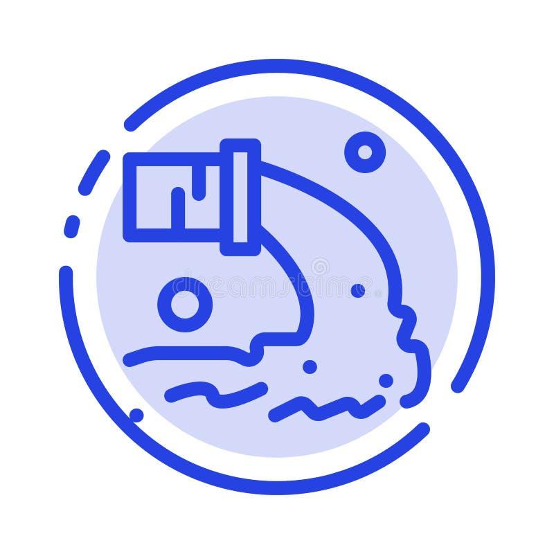 Tuyau, pollution, radioactive, eaux d'égout, ligne pointillée bleue de rebut ligne icône illustration libre de droits