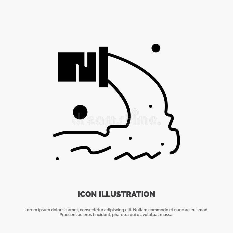 Tuyau, pollution, radioactive, eaux d'égout, vecteur solide de rebut d'icône de Glyph illustration libre de droits