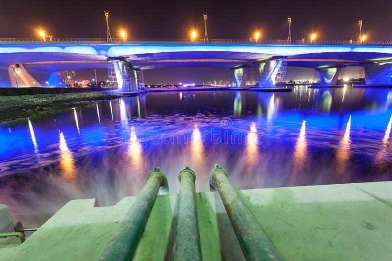 Tuyaux d'eaux d'égout chez Dubai Creek photo stock