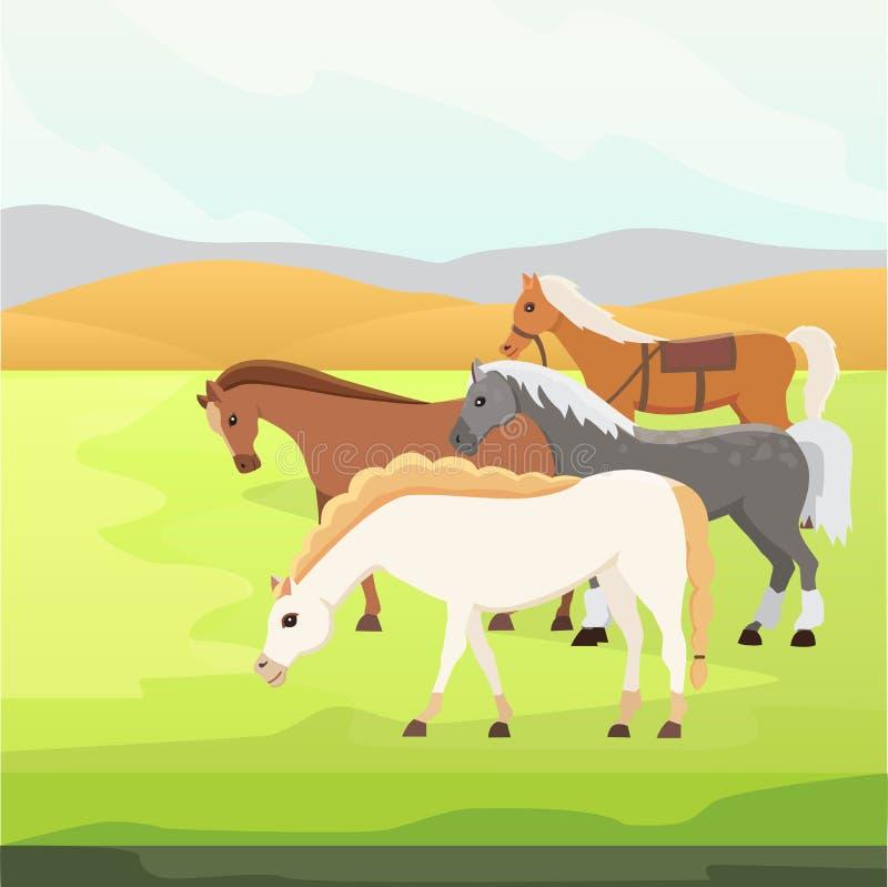 Tuyaux sauvages de vecteur de ferme de bande dessinée Collection de la position animale de cheval Silhouette différente illustration stock