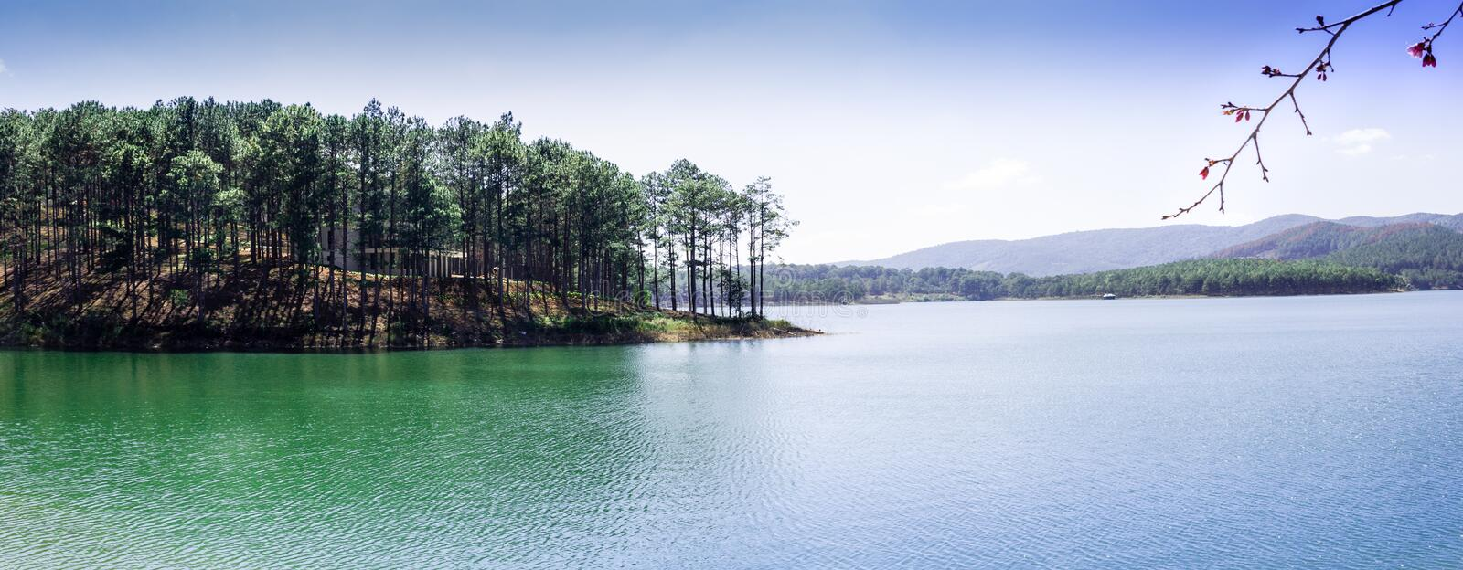 Tuyen Lam Lake - Da Lat. Tuyen Lam Lake is a lake in the city of Da Lat, Lam province. It is the largest freshwater lake in Da Lat, with an area of about 320 stock photography