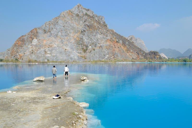 Tuyet Tinh Coc lake , Natural color Blue lake at Trai Son mountain, Haiphong, Vietnam stock images
