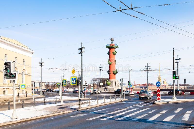 Tvärgata på den Vasilievsky ön i St Petersburg royaltyfria bilder