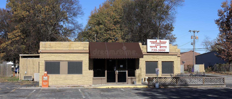 Tvärgatakaférestaurang, västra Memphis, Arkansas arkivfoton