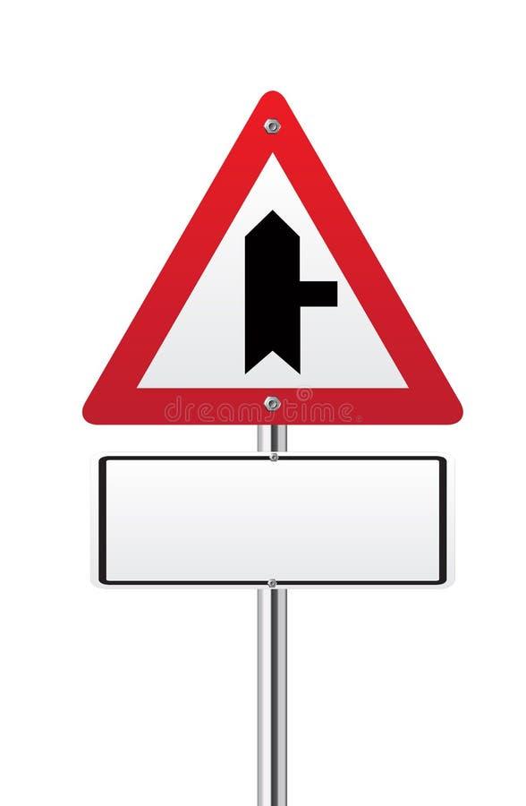 Tvärgator som varnar huvudvägmärket royaltyfri illustrationer