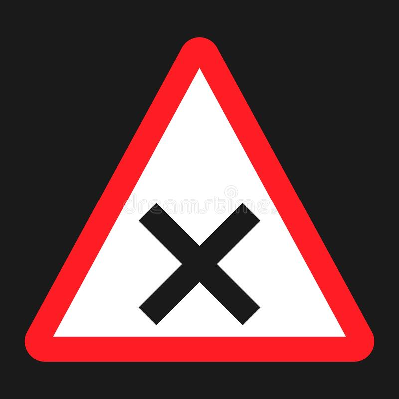 Tvärgator undertecknar den plana symbolen, trafik och vägmärket vektor illustrationer