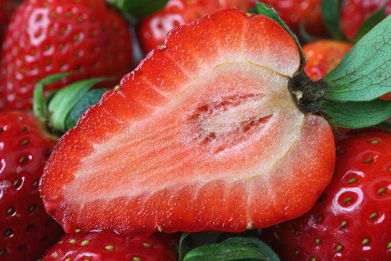 Tvärsnitt av den vibrerande röda nya och saftiga mogna jordgubben royaltyfria bilder