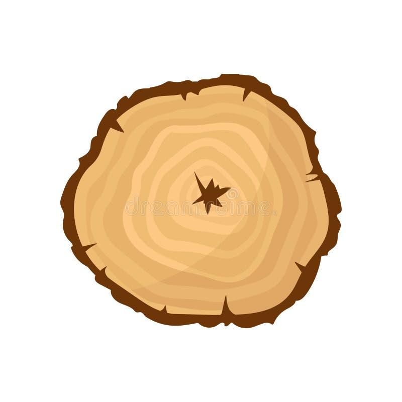 Tvärsnitt av trädstammen med årliga tillväxtcirklar Naturlig textur, organiskt material Plan vektorsymbol stock illustrationer